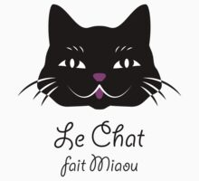 French Cat Says Meow  Kids Tee