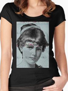 Blue Victorian Lady Floral Steampunk Women's Fitted Scoop T-Shirt