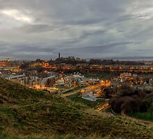 The City of Edinburgh from the Crags by Miles Gray