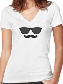 Sunglasses and Mustache Face Women's Fitted V-Neck T-Shirt