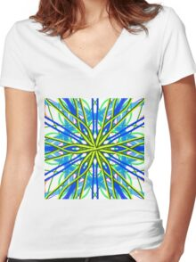 Mandala On White With Yellow And Blue Women's Fitted V-Neck T-Shirt