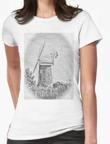 Horsey mill windpump in black and white Womens Fitted T-Shirt