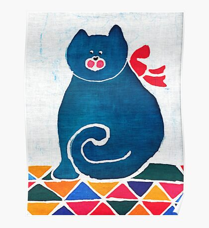 Cat with a red bow Poster