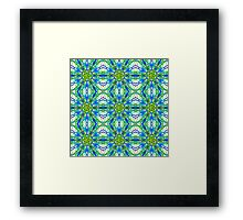 Mandala On White With Yellow And Blue - Tiled Framed Print