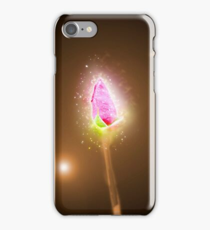 Exploding Red garden rose bud on a lush green background  iPhone Case/Skin