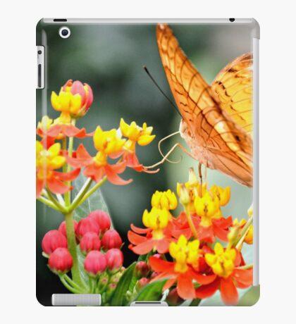 Orange Butterfly on Tropical Lantana Flowers iPad Case/Skin