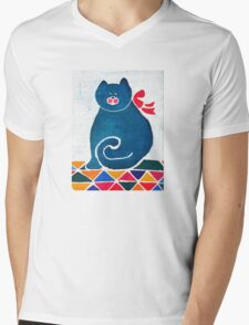 Cat with a red bow Mens V-Neck T-Shirt