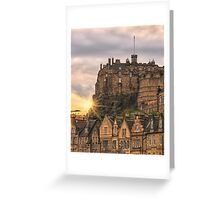 Edinburgh Castle Sunset, Candlemaker Row Greeting Card