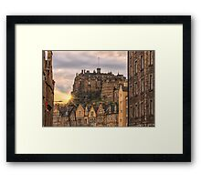 Edinburgh Castle Sunset from Candlemaker Row Framed Print
