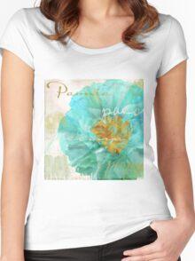 Aqua Peony Women's Fitted Scoop T-Shirt