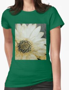 Gold and White Daisy Womens Fitted T-Shirt