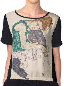 Egon Schiele - Seated Woman with Legs Drawn Up Adele Herms 1917 Chiffon Top