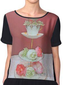 Tea & Peonies  Women's Chiffon Top