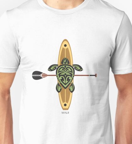 Black & Green Tribal Turtle Stand-Up Wave Rider / Maui Unisex T-Shirt