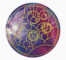 'Gallifrey Falls No More.' in Gallifreyan - Gold (bright nebula background) by ChibiPeppers