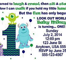 Custom made Monsters Inc. Boys Invitation ~ DO NOT PURCHASE THIS SAMPLE. SEE DESCRIPTION by sweetsisters