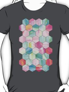 Pretty Pastel Hexagon Pattern in Oil Paint T-Shirt