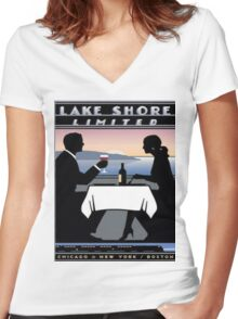Vintage poster - Lake Shore Limited Women's Fitted V-Neck T-Shirt