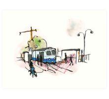 Tram stop in Göteborg - Sweden Art Print