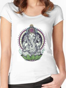 Ganesh and Lotus Flower Women's Fitted Scoop T-Shirt