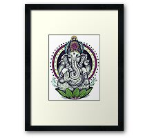Ganesh and Lotus Flower Framed Print