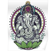 Ganesh and Lotus Flower Poster