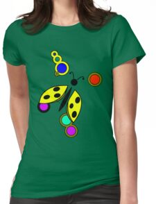 Ladybug Yellow Light Blue Womens Fitted T-Shirt