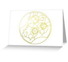 'Gallifrey Falls No More.' in Gallifreyan - Gold (transparent background) Greeting Card