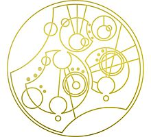 'Gallifrey Falls No More.' in Gallifreyan - Gold (transparent background) Photographic Print