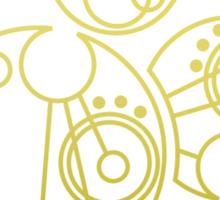 'Gallifrey Falls No More.' in Gallifreyan - Gold (transparent background) Sticker