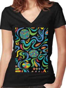 Cartwheel Black Women's Fitted V-Neck T-Shirt