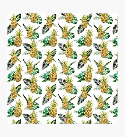 Summer tropical yellow green watercolor pineapple Photographic Print