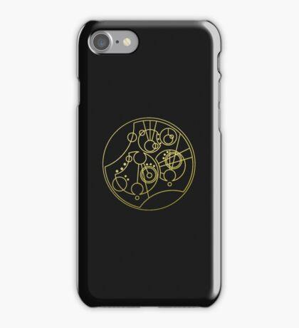 'Gallifrey Falls No More.' in Gallifreyan - Gold (transparent background) iPhone Case/Skin