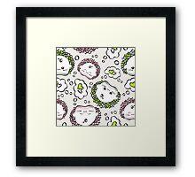 love hedgehogs seamless pattern kawaii style.  Framed Print