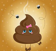 Cute turd with a bow and flies. by Lyusya