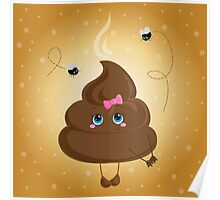 Cute turd with a bow and flies. Poster