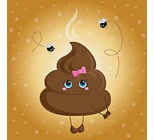 Cute turd with a bow and flies. Photographic Print