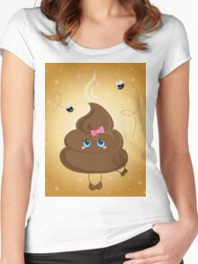 Cute turd with a bow and flies. Women's Fitted Scoop T-Shirt