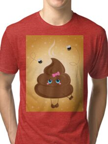 Cute turd with a bow and flies. Tri-blend T-Shirt