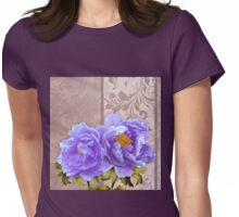 Tryst, lavender blue peonies still life floral art Womens Fitted T-Shirt