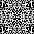 Ornate Love Hearts | Black and White by webgrrl