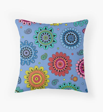 Flowers of Desire blue Throw Pillow