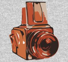 Medium Format 6x6 Camera Design in Orange One Piece - Long Sleeve