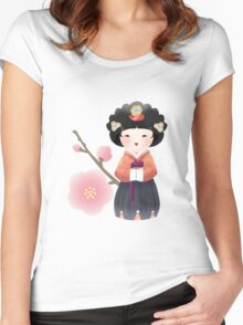 Korean Doll Women's Fitted Scoop T-Shirt