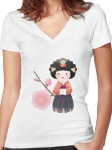 Korean Doll Women's Fitted V-Neck T-Shirt