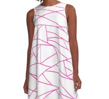 Pink Fractal Art retro Fashion Pattern ( pink and white 60s, 70s inspired ) A-Line Dress