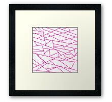 Pink Fractal Art retro Fashion Pattern ( pink and white 60s, 70s inspired ) Framed Print