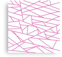 Pink Fractal Art retro Fashion Pattern ( pink and white 60s, 70s inspired ) Canvas Print