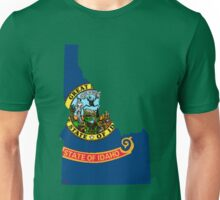Idaho Map With Idaho State Flag Unisex T-Shirt