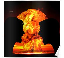 Man and Woman Silhouetted in Nuclear Blow-Up Argument Poster